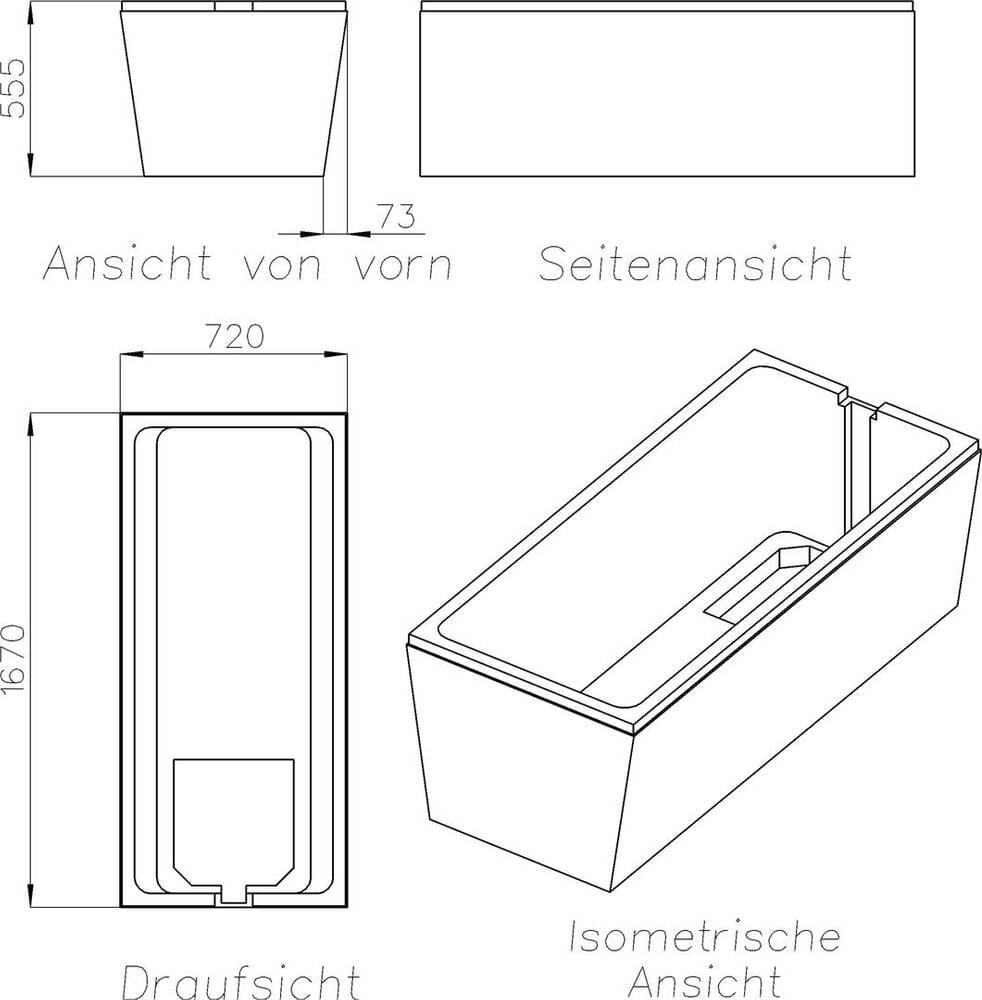 Wannenträger für Kaldewei Saniform Plus 20 20 Badewanne 2070 x 20 cm