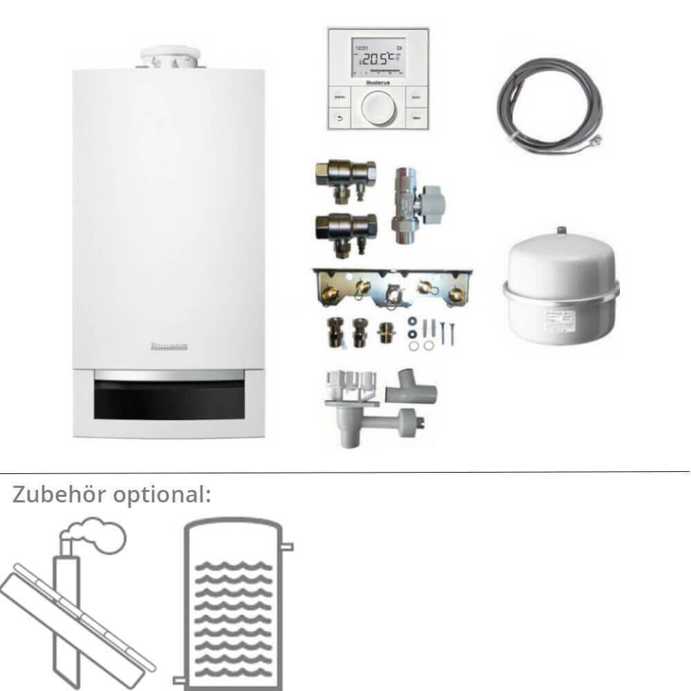 Buderus Gasbrennwerttherme GB172 opt. Abgas, Speicher & Regelung