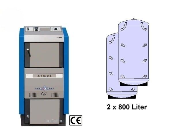 Atmos 23 kW Holzvergaser Holzheizung mit Pufferspeicher Festbrennstoffkessel