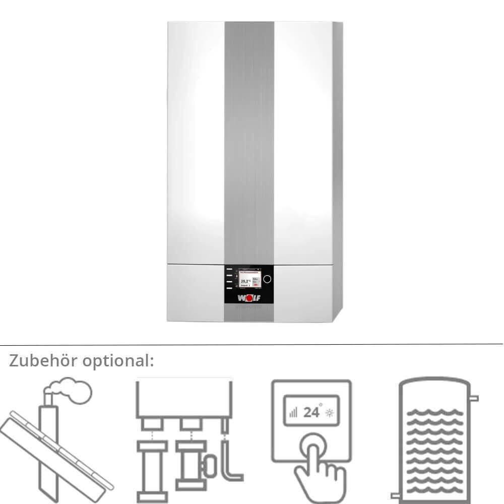 Wolf CGB-2-24 ComfortLine Gas-Brennwerttherme optional mit Zubehör