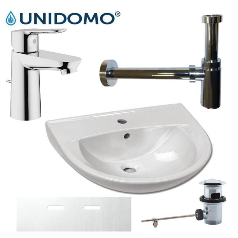 Waschbecken mit Grohe BauEdge mit Ablaufgarnitur Design-Siphon und Schallschutzset