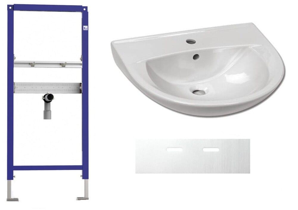 Set Waschbecken 600x490 mm mit Waschtisch-Vorwandelement und Schallschutz