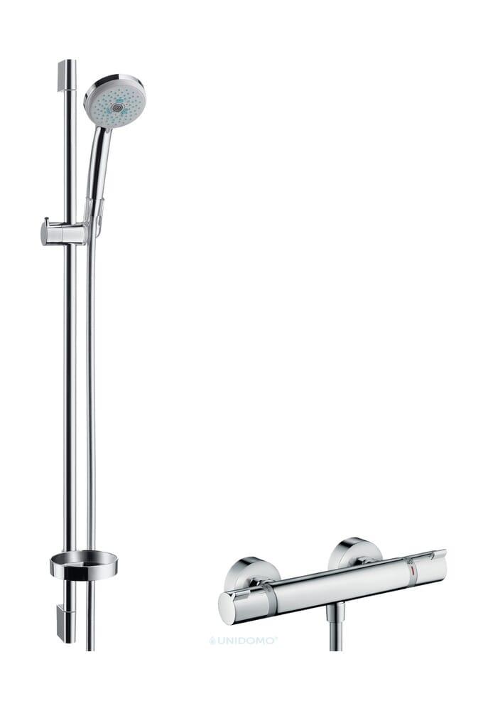Hansgrohe Duscharmatur Duschsystem Ecostat Comfort mit Croma 100 Multi Handbrause