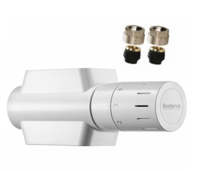 Buderus Multiblock Ventil-Armaturen Set Eck- und Durchgangsform inkl. Klemmringverschraubung 15 mm Kupfer