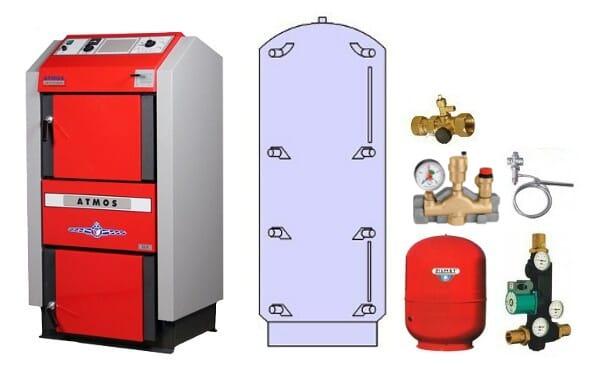Atmos Holzvergaser Paket GS 2 / Holzkessel GS 15 mit 800 Liter Pufferspeicher PAP