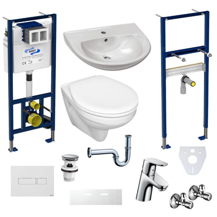 Badezimmer Komplettset Vorwandelement Wand-WC WC-Sitz Waschbecken Armatur UD-KS 6