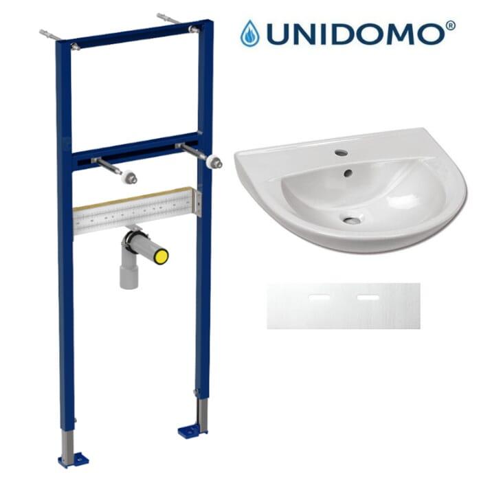 Komplettset Waschbecken 600x490 mm mit Waschtisch-Vorwandelement und Schallschutz