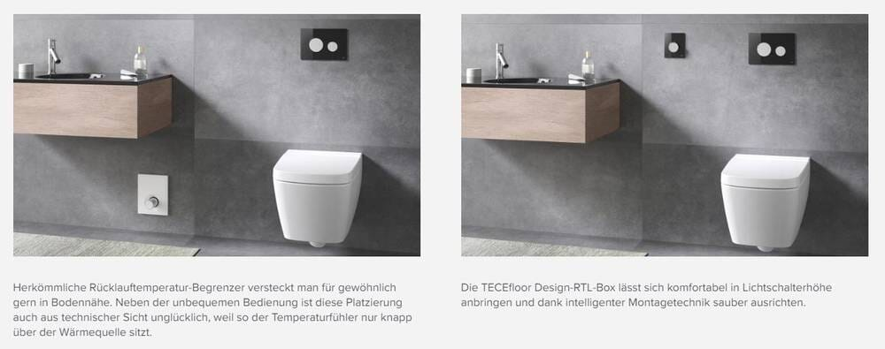 TECEfloor RTL Box Rücklauftemperaturbegrenzer Abdeckplatte Feinbauset schwarz
