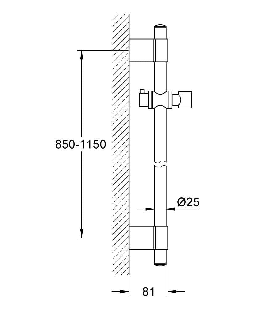 Grohe Brausestange Metall 60, 90 und 115 cm für Rainshower/Relexa