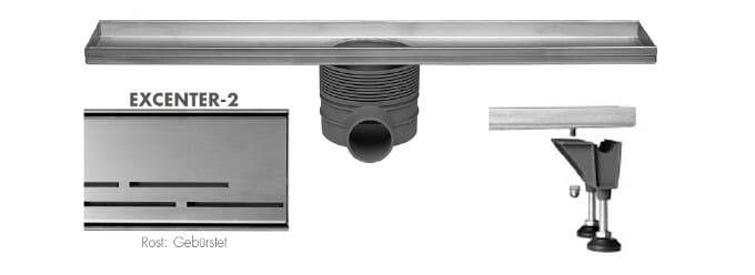 Easy Drain Multi Rohbauset Duschrinne Design Rost Excenter Edelstahl gebürstet 500 bis 1200 mm