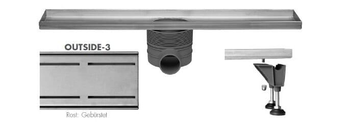 Easy Drain Multi Rohbauset Duschrinne Design Rost Outside