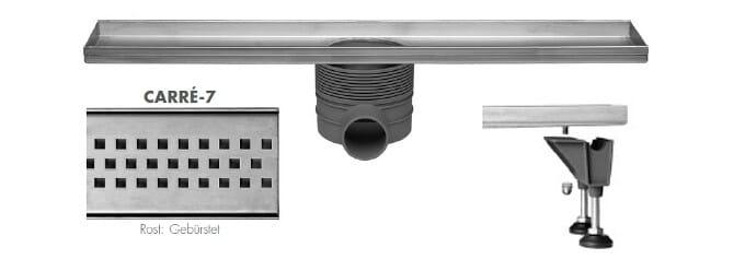 Easy Drain Multi Duschrinne Design Rost Carre Edelstahl gebürstet 500 bis 1200 mm
