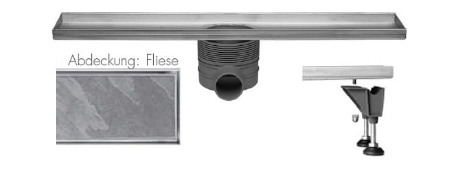 Easy Drain Fliesenrinne / Duschrinne Fliesenmulde Abdeckung Fliese von 500 bis 1200 mm