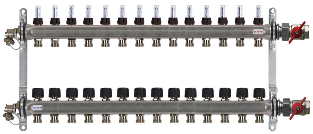 Buderus Heizkreisverteiler Fußbodenheizung HVE-FD-AK mit Durchflussmengenmesser für 2 bis 16 Heizkreise