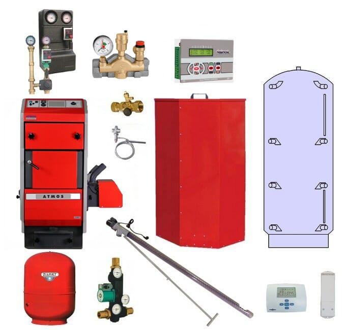 Atmos Pelletheizungsanlage / Pelletheizung P 20 22 kW Puffer PAP 800 Liter