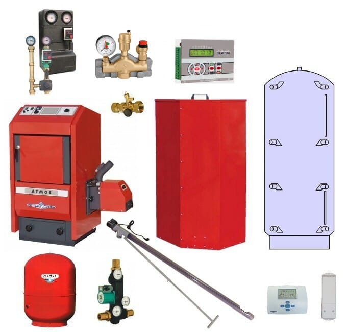 Atmos Pelletheizung P1 / Pelletkessel P25 24 kW Puffer PAP 800 Liter