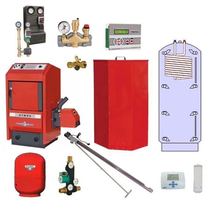 Atmos Pelletheizungsanlage P4 / Pelletkessel P21 19,5 kW Puffer PAW 800 Liter