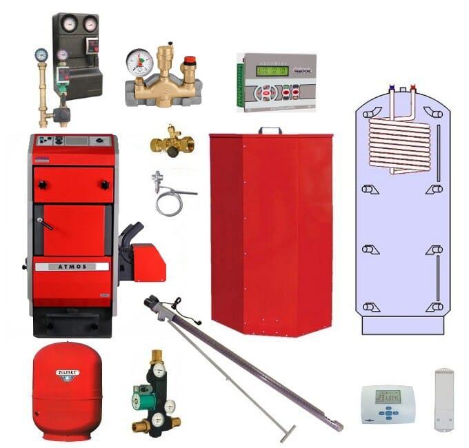 Atmos Pelletheizungsanlage P-5 / Pelletkessel P20 22 kW Puffer PAW 800 Liter