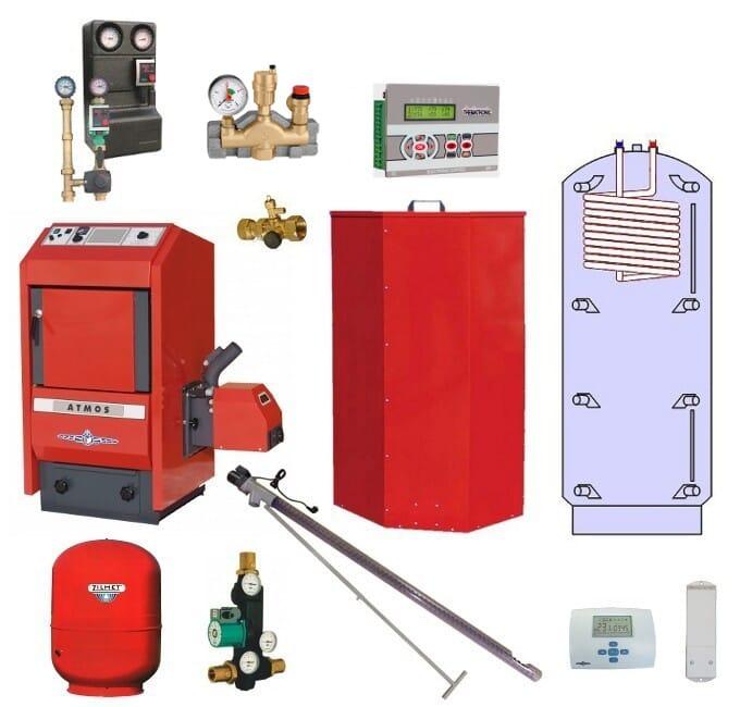 Atmos Pelletheizungsanlage P4 Pelletheizung 14 kW Pufferspeicher PAW 500 Liter