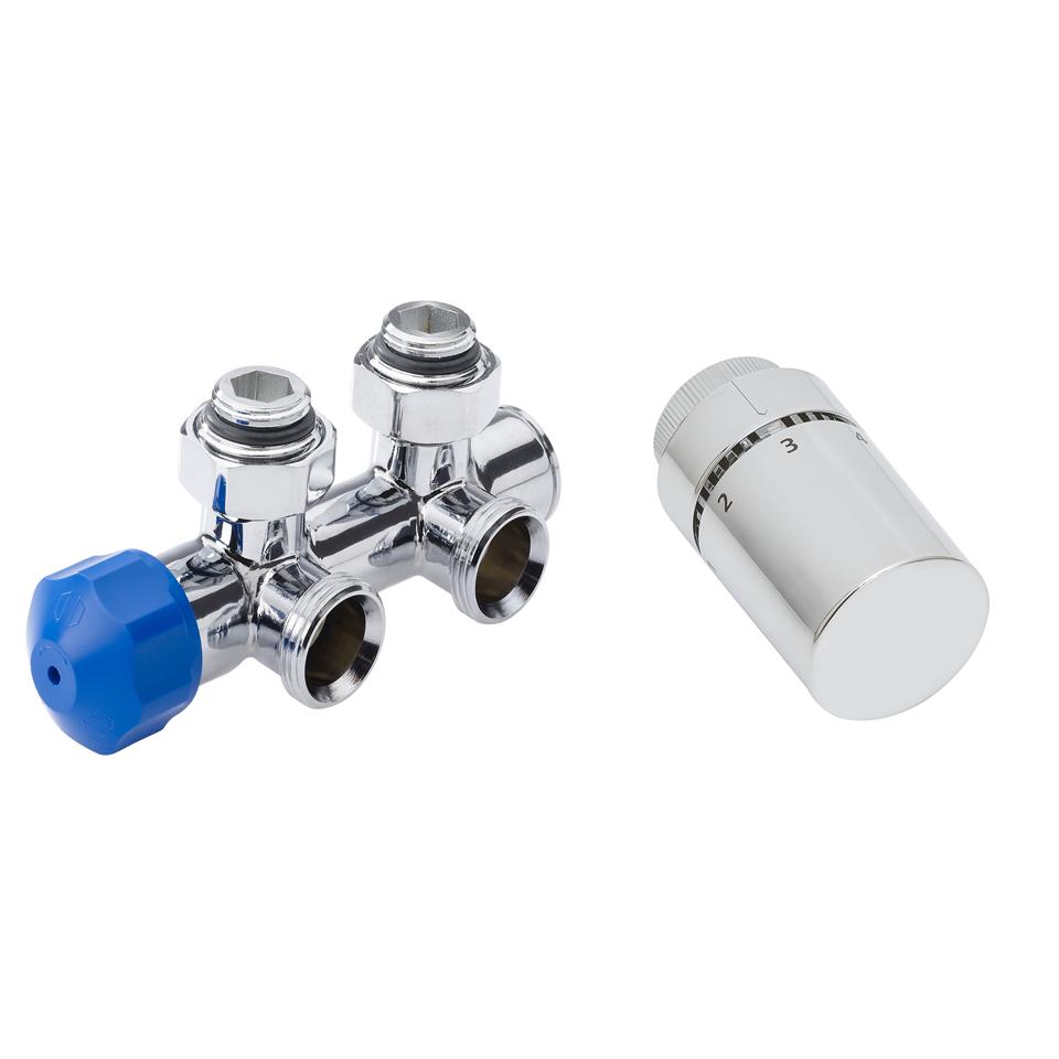 HSK Multiblock Anschluss-Set mit Design Thermostatregler