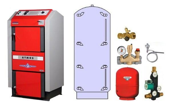 Atmos Holzvergaser Paket GS 2 / Holzkessel GS 20 1000 Liter Pufferspeicher PAP