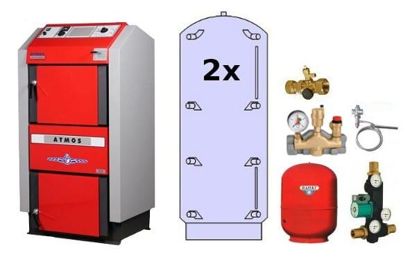 Atmos Holzvergaser Paket GS 2 / Holzvergaser GS 32 2x 1000 Liter Pufferspeicher