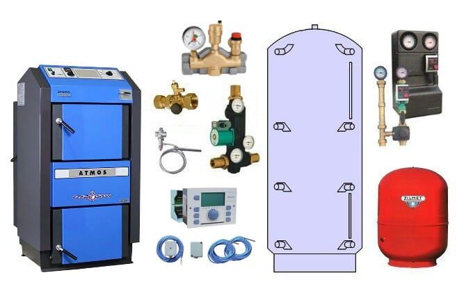 Atmos Paket P 30 Holzvergaser DC 18 GSE 19 kW Pufferspeicher PAP 1000 Liter