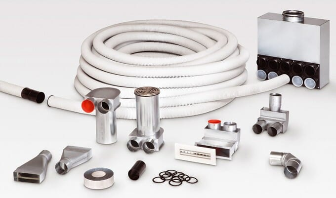 Helios KWL Lüftungssystem Wohnungslüftung Rohbau-Paket: Rohrsystem FRS-RP 75