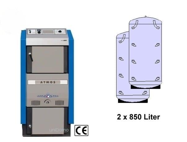 Atmos Holzvergaser DC 30 GSE 29,8 kW Speicher + Laddomat Holz-Heizkessel Heizung